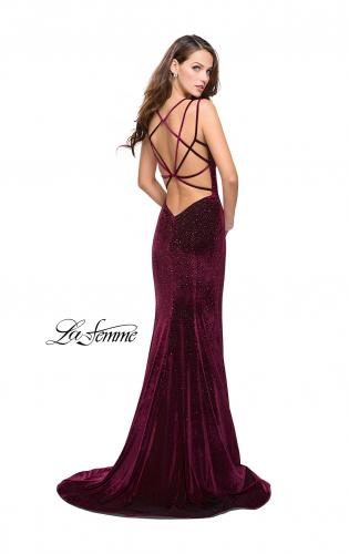 Picture of: Velvet Form Fitting Prom Dress with Intricate Back, Style: 25681, Main Picture