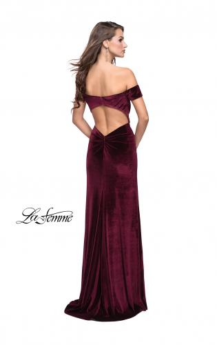 Picture of: Off the Shoulder Mermaid Gown with Strappy Back and Train, Style: 25213, Back Picture