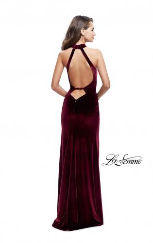 Picture of: Velvet Prom Dress with Open Back and Deep V Cut Out, Style: 25292, Back Picture