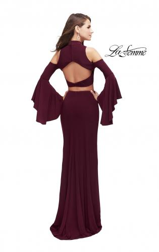 Picture of: Long Two Piece Dress with Cold Shoulders and Bell Sleeves, Style: 25353, Back Picture