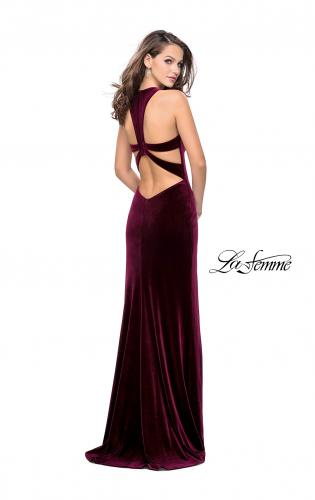 Picture of: Long Velvet Prom Dress with Deep V and Side Leg Slit, Style: 25363, Back Picture