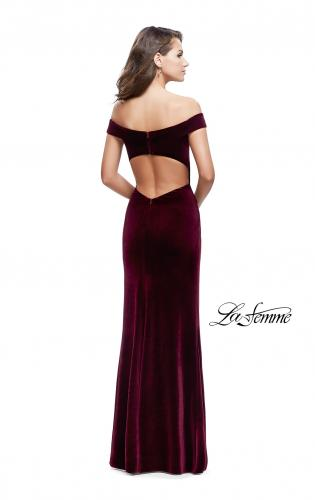 Picture of: Long Off the Shoulder Velvet Gown with Open Back, Style: 25400, Back Picture