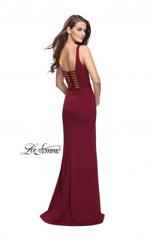 Picture of: Form Fitting Prom Dress with Detailed Front Cut Out, Style: 25509, Back Picture