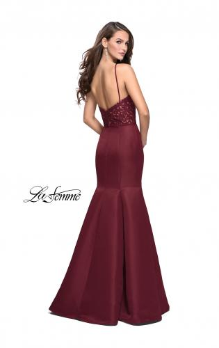 Picture of: Long Mermaid Prom Dress with Laser Cut Pattern Detail, Style: 25650, Back Picture