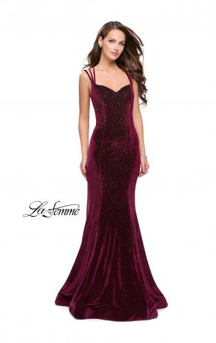 Picture of: Velvet Form Fitting Prom Dress with Intricate Back, Style: 25681, Back Picture
