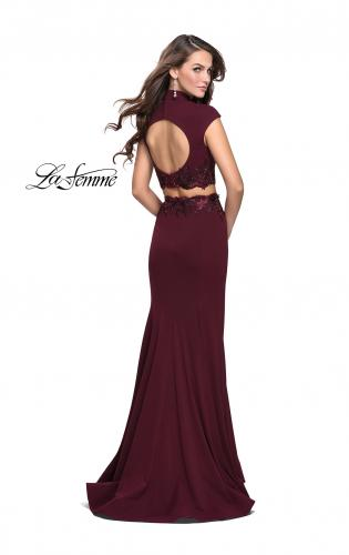 Picture of: Two Piece Jersey Applique Gown with Short Sleeves, Style: 26196, Back Picture