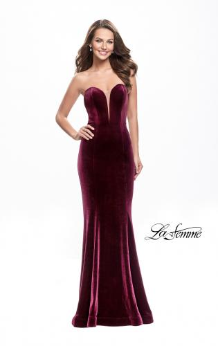 Picture of: Strapless Velvet Mermaid Dress with Strappy Back, Style: 25158, Detail Picture 1