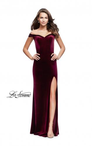 Picture of: Long Off the Shoulder Velvet Gown with Open Back, Style: 25400, Detail Picture 1