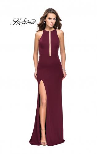 Picture of: Long Jersey Dress with High Neckline and Side Leg Slit, Style: 25477, Detail Picture 1
