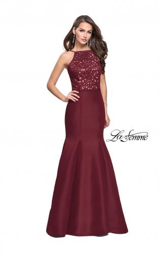 Picture of: Long Mermaid Prom Dress with Laser Cut Pattern Detail, Style: 25650, Detail Picture 1