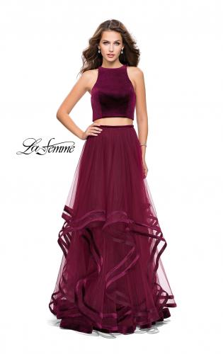 Picture of: Two Piece Tulle Gown with Velvet High Neck Top, Style: 25817, Detail Picture 1
