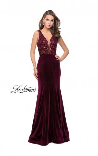 Picture of: Long Embellished Velvet Prom Dress with a Low V Back, Style: 25824, Detail Picture 1