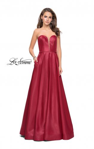 Picture of: Strapless Mikado A-line Gown with Pockets, Style: 26088, Detail Picture 1