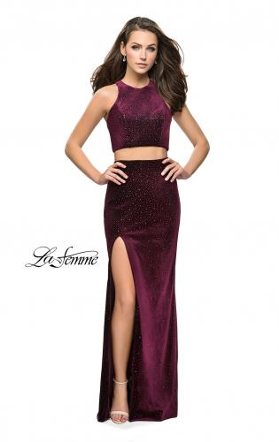 Picture of: Two Piece Velvet Prom Dress with Open Back and Leg Slit, Style: 25464, Detail Picture 2