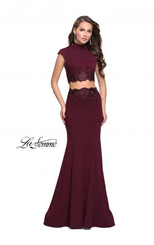 Picture of: Two Piece Jersey Applique Gown with Short Sleeves, Style: 26196, Detail Picture 2