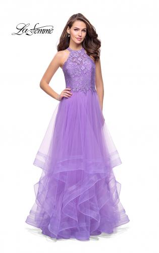 Picture of: Long Prom Ball Gown with Tulle Overlay and Beaded Top, Style: 25671, Detail Picture 2