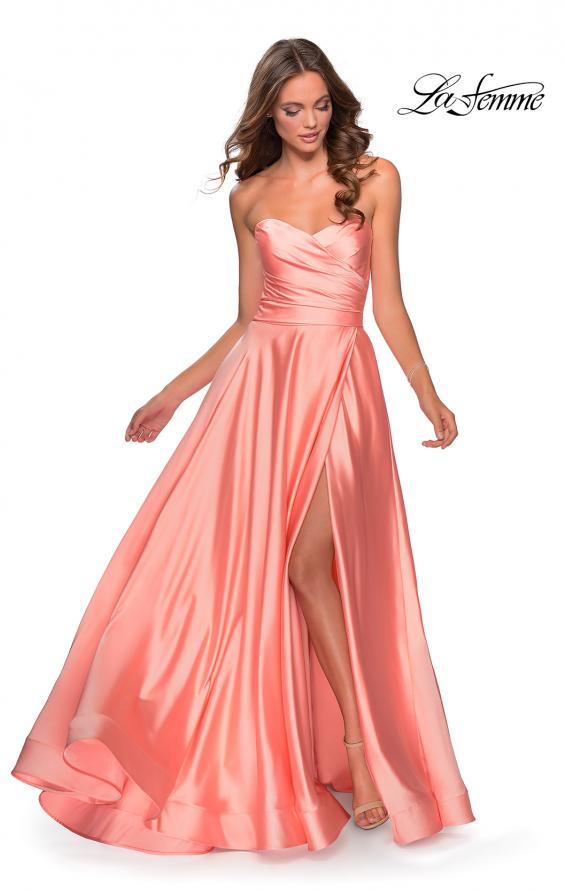 Picture of: Strapless Satin Gown with Pleated Bodice and Slit in Peach, Style: 28608, Detail Picture 1