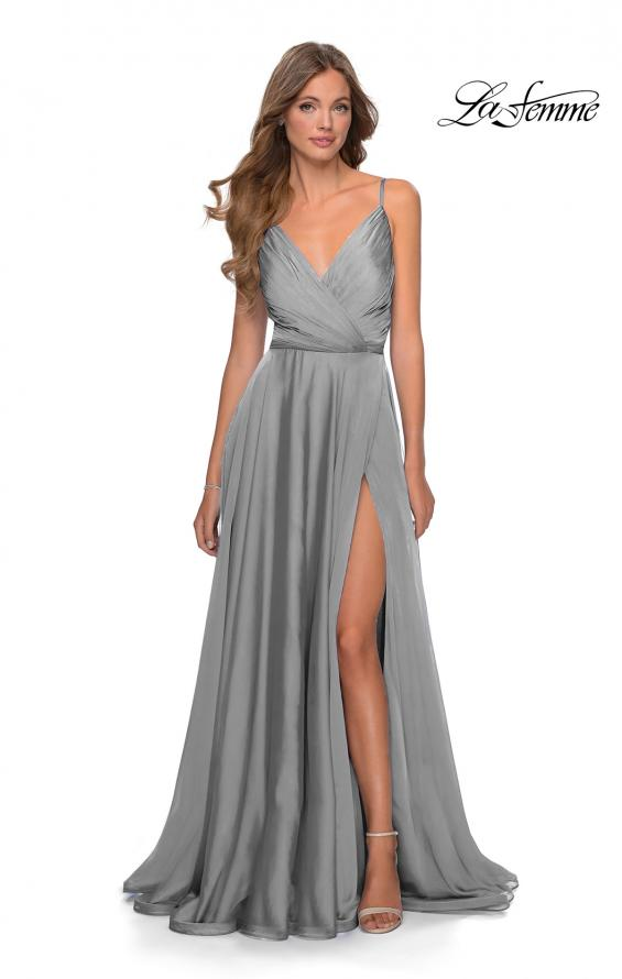 Picture of: Chiffon Prom Dress with Pleated Bodice and Pockets in Platinum, Style: 28611, Detail Picture 8