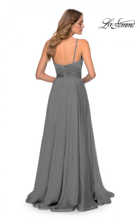 Picture of: Chiffon Prom Dress with Pleated Bodice and Pockets in Platinum, Style: 28611, Detail Picture 9