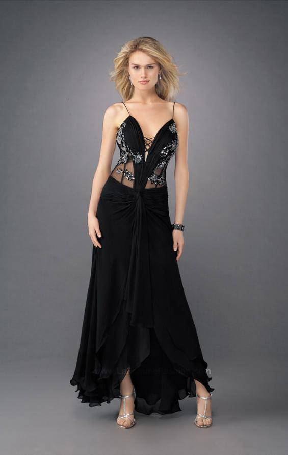 Picture of: Sultry V Neck Embroidered Prom Dress with Layered Skirt in Black, Style: 11704, Main Picture