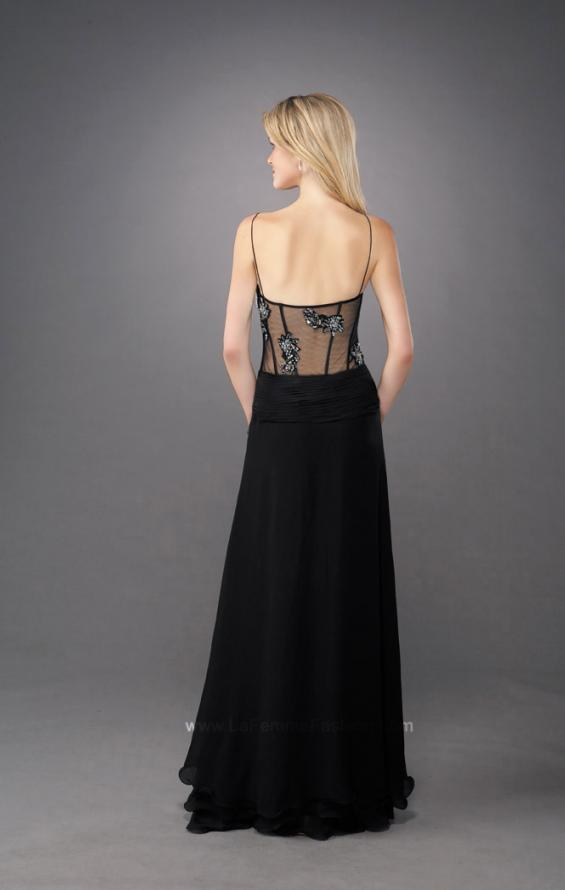 Picture of: Sultry V Neck Embroidered Prom Dress with Layered Skirt in Black, Style: 11704, Back Picture