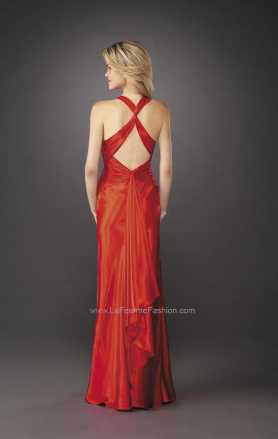 Picture of: Long Satin Prom Gown with V Neck and X Back in Red, Style: 12298, Back Picture