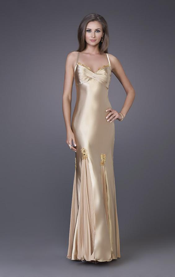 Picture of: Prom Gown with Twisted Bodice and Lace Detailing in Gold, Style: 12340, Main Picture