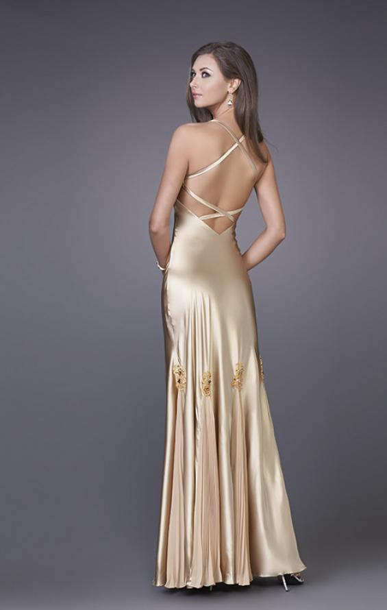 Picture of: Prom Gown with Twisted Bodice and Lace Detailing in Gold, Style: 12340, Back Picture