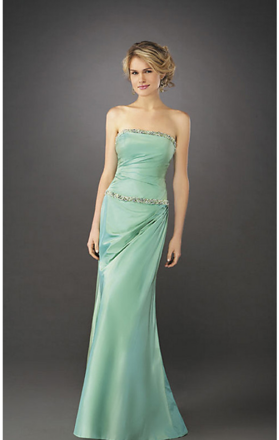 Picture of: Elegant Fitted Prom Dress with Side Ruching and Beads in Green, Style: 12525, Main Picture
