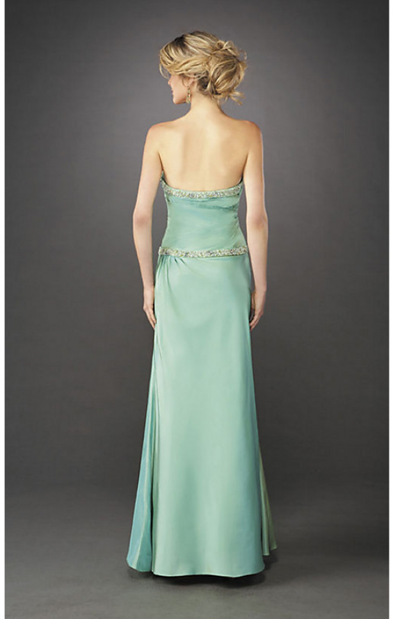 Picture of: Elegant Fitted Prom Dress with Side Ruching and Beads in Green, Style: 12525, Back Picture