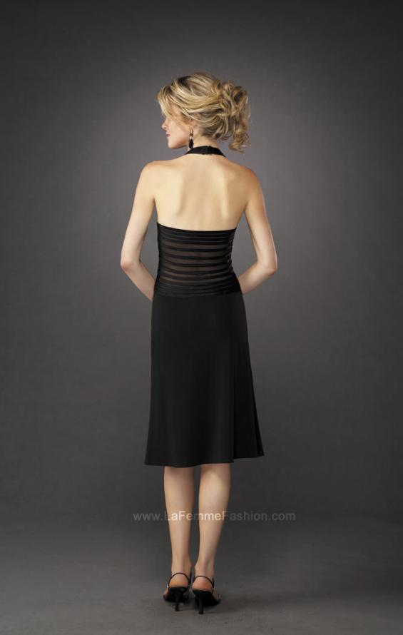 Picture of: Long A-Line Halter Prom Dress with Sheer Detail in Black, Style: 12722, Back Picture
