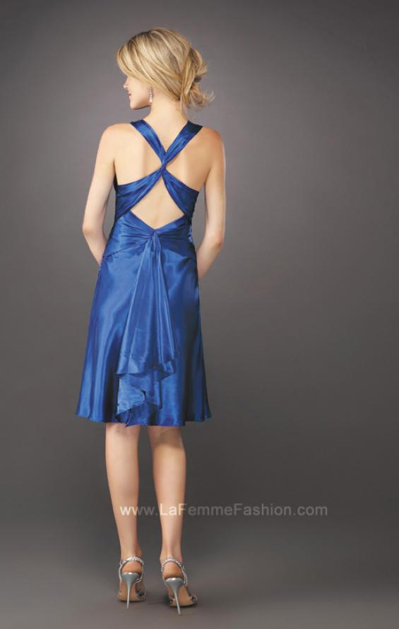 Picture of: Short V Neck Dress with Silver Brooch and Mini Train in Blue, Style: 12835, Back Picture