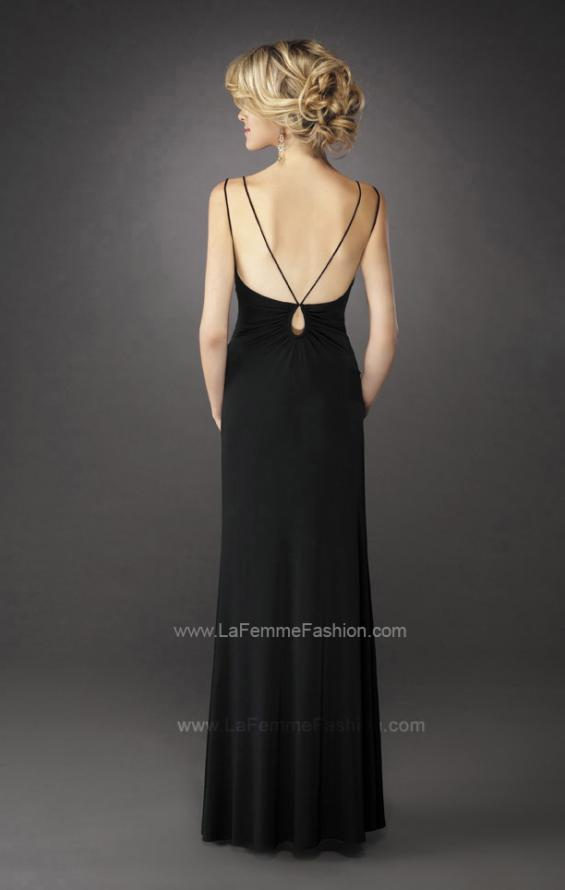 Picture of: Gathered Bodice V Neck Dress with Sheer Waist Detail, Style: 13057, Back Picture