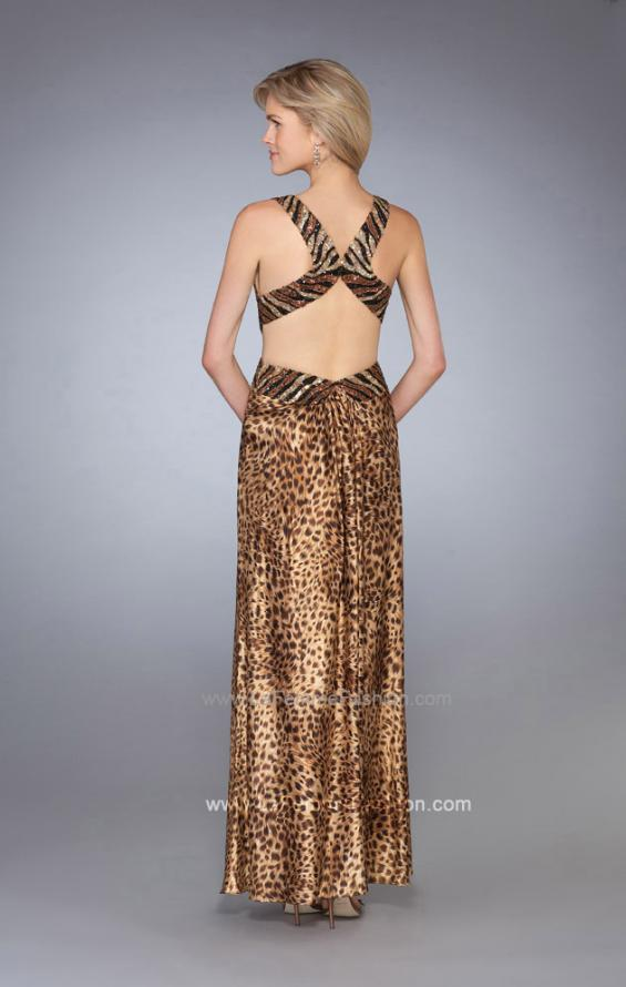 Picture of: Animal Print Prom Dress with V Neck and Cut Outs in Gold, Style: 13266, Back Picture