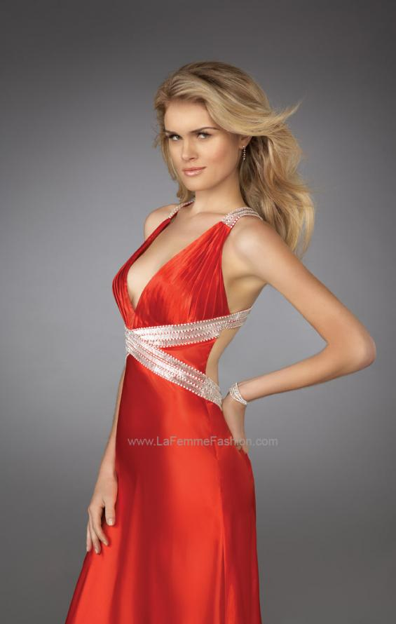 Picture of: Long Pleated Prom Dress with Criss Cross Waistband, Style: 13277, Main Picture