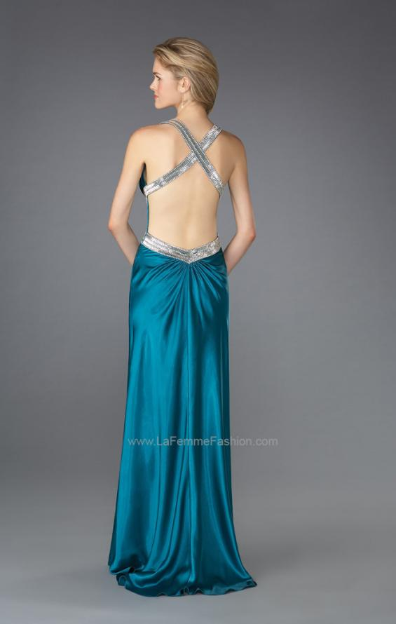 Picture of: Long Pleated Prom Dress with Criss Cross Waistband, Style: 13277, Back Picture