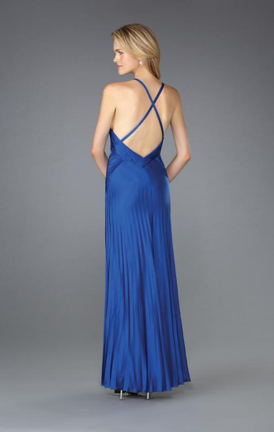 Picture of: Long Prom Dress with Accordion Pleated Skirt, Style: 13281, Back Picture