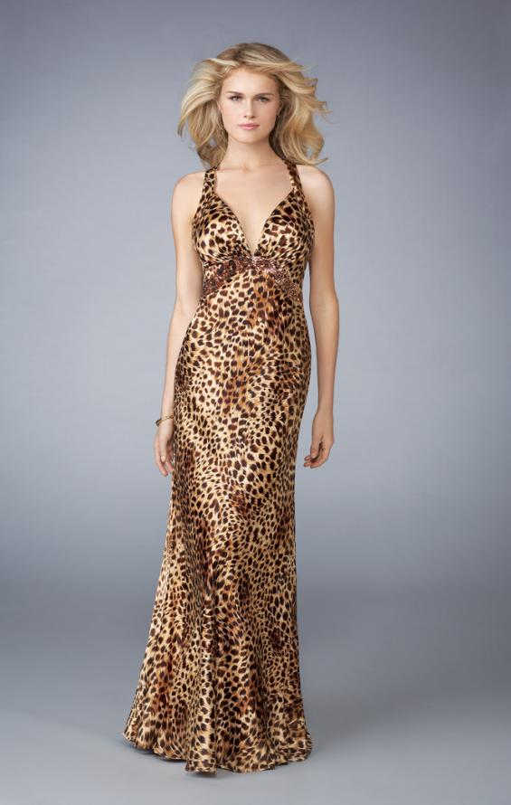 Picture of: Animal Print V Neck Halter Dress with Open Back, Style: 13375, Main Picture