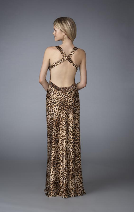 Picture of: Animal Print V Neck Halter Dress with Open Back, Style: 13375, Back Picture