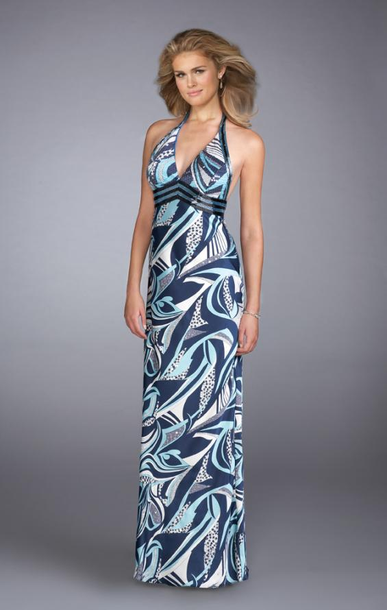 Picture of: Long Printed Halter Prom Dress with Sequined Waistband, Style: 13385, Main Picture