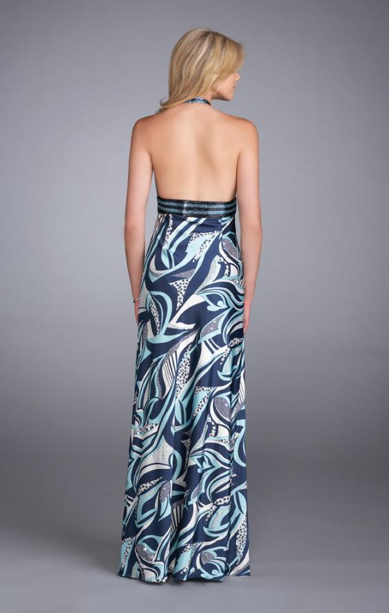 Picture of: Long Printed Halter Prom Dress with Sequined Waistband, Style: 13385, Back Picture