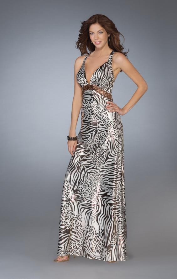 Picture of: Printed Low V Neckline Prom Dress with Criss Cross Back in Multi, Style: 13409, Main Picture