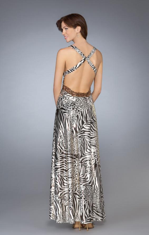 Picture of: Printed Low V Neckline Prom Dress with Criss Cross Back in Multi, Style: 13409, Back Picture