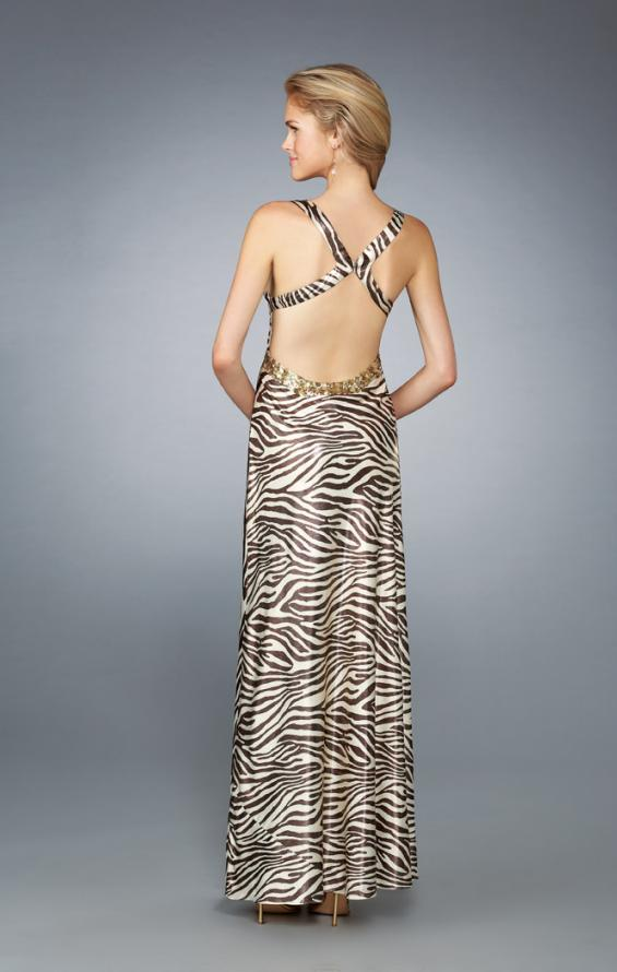 Picture of: Printed Low V Neckline Prom Dress with Criss Cross Back in Multi, Style: 13409, Detail Picture 1