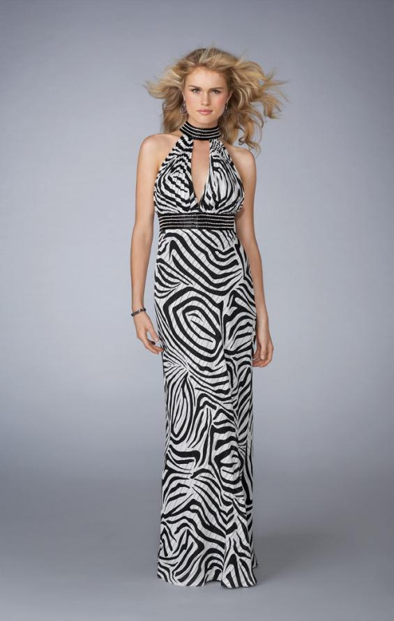 Picture of: Printed Halter Prom Dress with Keyhole Front and Back, Style: 13425, Main Picture