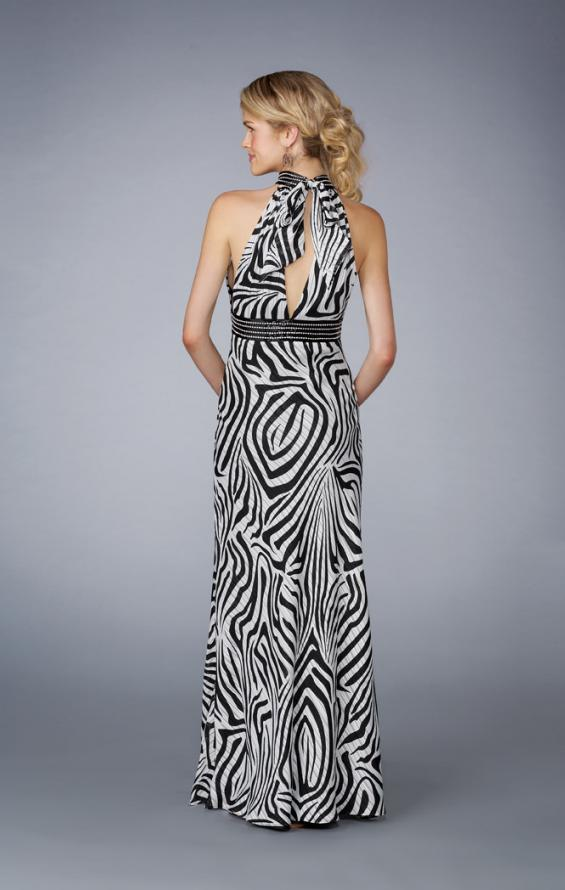 Picture of: Printed Halter Prom Dress with Keyhole Front and Back, Style: 13425, Back Picture