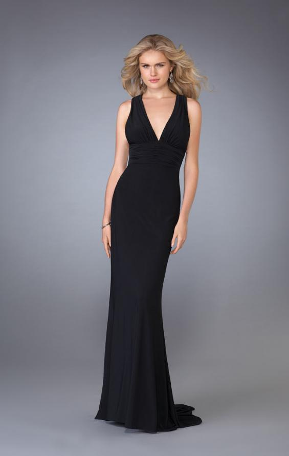 Picture of: Long V Neck Prom Gown with Ruched Waistband in Black, Style: 13442, Main Picture