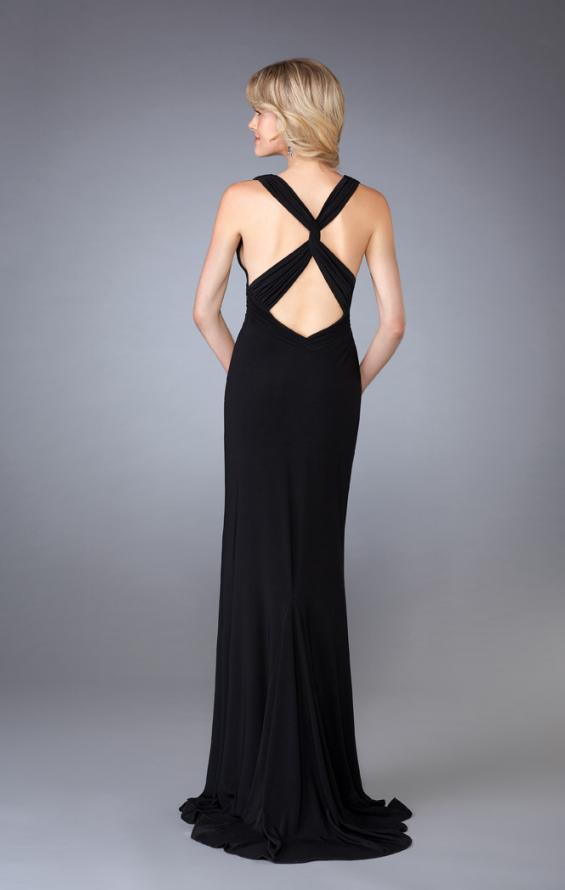 Picture of: Long V Neck Prom Gown with Ruched Waistband in Black, Style: 13442, Back Picture