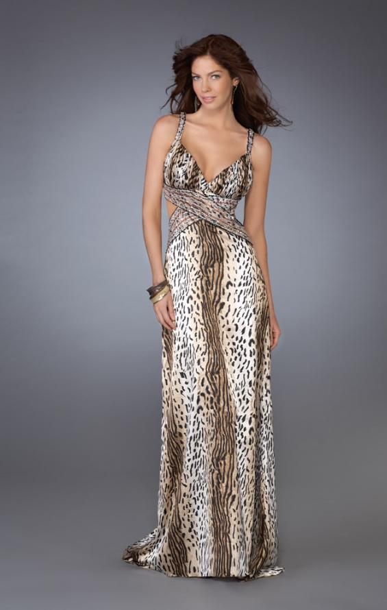 Picture of: Leopard Print Dress with Beaded Straps and Cut Outs in Multi, Style: 13453, Main Picture