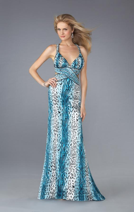 Picture of: Leopard Print Dress with Beaded Straps and Cut Outs in BLue, Style: 13453, Detail Picture 1
